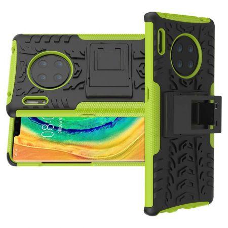 Двухкомпонентный Противоскользящий Гибридный Противоударный Чехол для Huawei Mate 30 Pro с Подставкой Зеленый / Черный