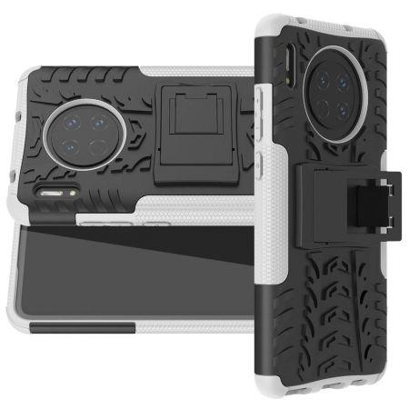Двухкомпонентный Противоскользящий Гибридный Противоударный Чехол для Huawei Mate 30 с Подставкой Белый / Черный