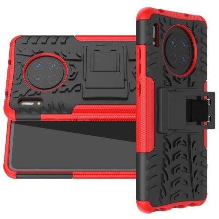 Двухкомпонентный Противоскользящий Гибридный Противоударный Чехол для Huawei Mate 30 с Подставкой Красный / Черный