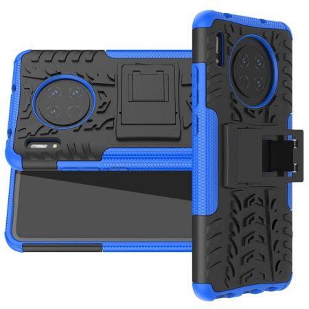 Двухкомпонентный Противоскользящий Гибридный Противоударный Чехол для Huawei Mate 30 с Подставкой Синий / Черный