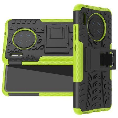 Двухкомпонентный Противоскользящий Гибридный Противоударный Чехол для Huawei Mate 30 с Подставкой Зеленый / Черный