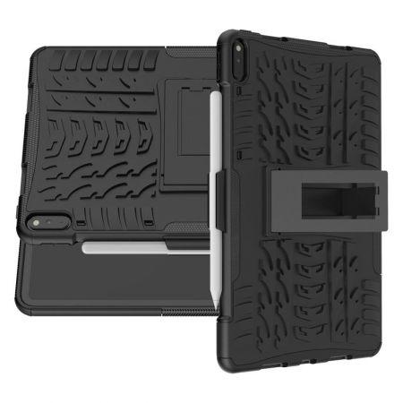 Двухкомпонентный Противоскользящий Гибридный Противоударный Чехол для Huawei MatePad Pro с Подставкой Черный