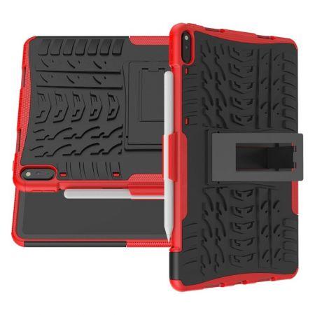 Двухкомпонентный Противоскользящий Гибридный Противоударный Чехол для Huawei MatePad Pro с Подставкой Красный