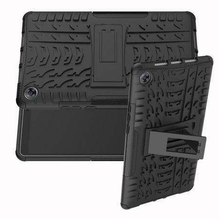 Двухкомпонентный Противоскользящий Гибридный Противоударный Чехол для Huawei MediaPad M5 8.4 с Подставкой Черный