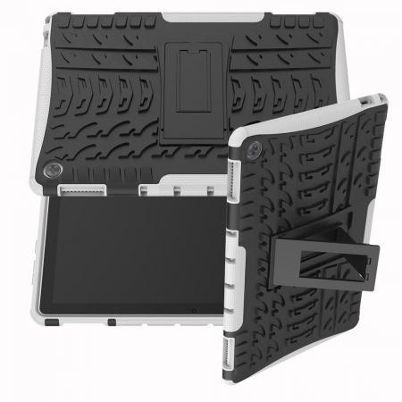 Двухкомпонентный Противоскользящий Гибридный Противоударный Чехол для Huawei Mediapad M5 Lite 10 с Подставкой Белый