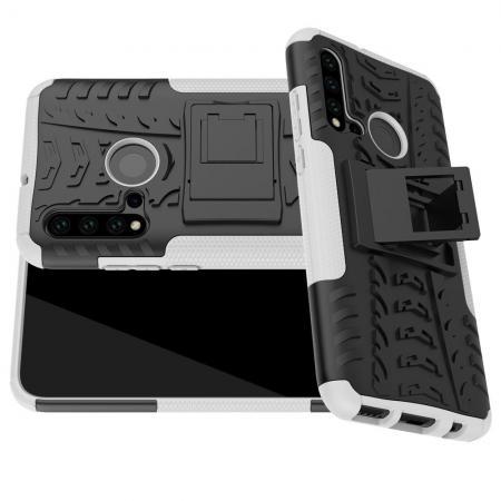 Двухкомпонентный Противоскользящий Гибридный Противоударный Чехол для Huawei nova 5i / P20 lite 2019 с Подставкой Белый