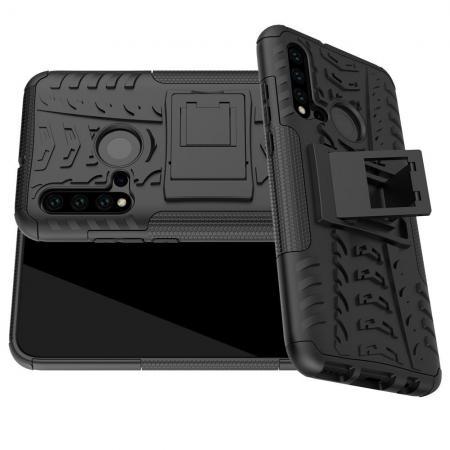 Двухкомпонентный Противоскользящий Гибридный Противоударный Чехол для Huawei nova 5i / P20 lite 2019 с Подставкой Черный