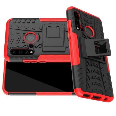 Двухкомпонентный Противоскользящий Гибридный Противоударный Чехол для Huawei nova 5i / P20 lite 2019 с Подставкой Красный