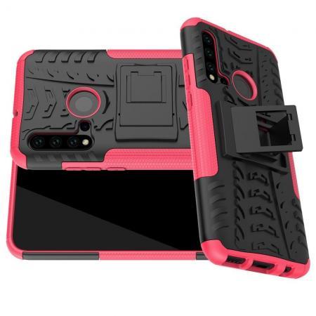 Двухкомпонентный Противоскользящий Гибридный Противоударный Чехол для Huawei nova 5i / P20 lite 2019 с Подставкой Розовый