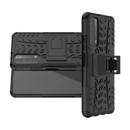Двухкомпонентный Противоскользящий Гибридный Противоударный Чехол для Huawei P Smart 2021 с Подставкой Черный