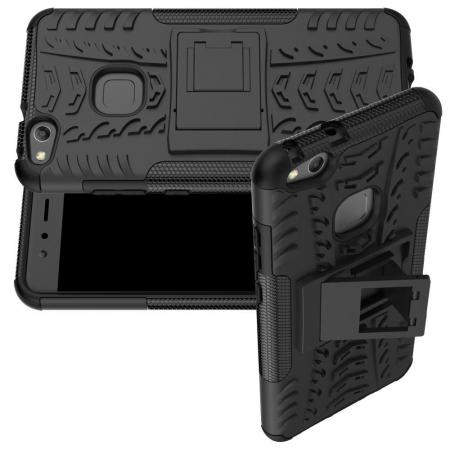 Двухкомпонентный Противоскользящий Гибридный Противоударный Чехол для Huawei P10 Lite с Подставкой Черный