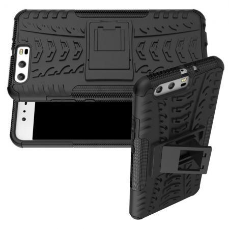 Двухкомпонентный Противоскользящий Гибридный Противоударный Чехол для Huawei P10 Plus с Подставкой Черный