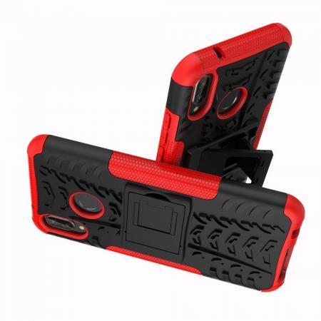 Двухкомпонентный Противоскользящий Гибридный Противоударный Чехол для Huawei P20 lite с Подставкой Красный