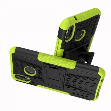 Двухкомпонентный Противоскользящий Гибридный Противоударный Чехол для Huawei P20 lite с Подставкой Зеленый