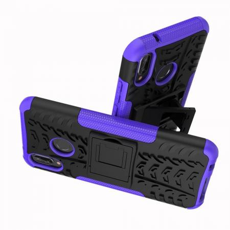 Двухкомпонентный Противоскользящий Гибридный Противоударный Чехол для Huawei P20 lite с Подставкой Фиолетовый