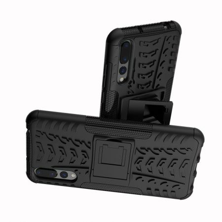 Двухкомпонентный Противоскользящий Гибридный Противоударный Чехол для Huawei P20 Pro с Подставкой Черный
