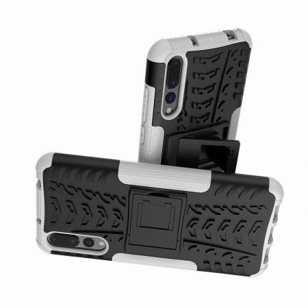 Двухкомпонентный Противоскользящий Гибридный Противоударный Чехол для Huawei P20 Pro с Подставкой Белый