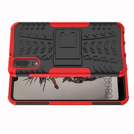 Двухкомпонентный Противоскользящий Гибридный Противоударный Чехол для Huawei P20 с Подставкой Красный