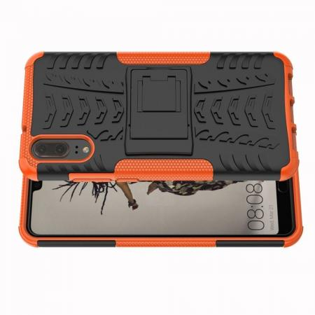 Двухкомпонентный Противоскользящий Гибридный Противоударный Чехол для Huawei P20 с Подставкой Оранжевый