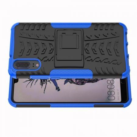 Двухкомпонентный Противоскользящий Гибридный Противоударный Чехол для Huawei P20 с Подставкой Синий