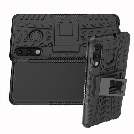 Двухкомпонентный Противоскользящий Гибридный Противоударный Чехол для Huawei Honor 20S с Подставкой Черный