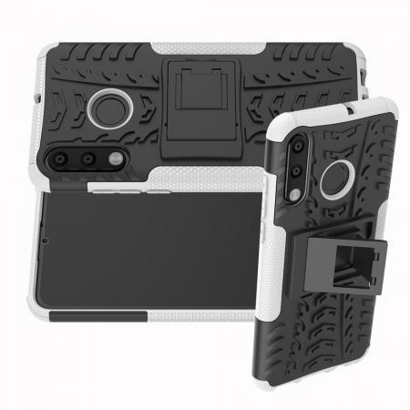 Двухкомпонентный Противоскользящий Гибридный Противоударный Чехол для Huawei Honor 20S с Подставкой Белый