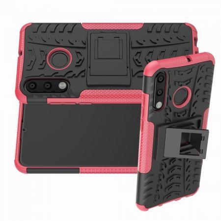 Двухкомпонентный Противоскользящий Гибридный Противоударный Чехол для Huawei Honor 20S с Подставкой Розовый