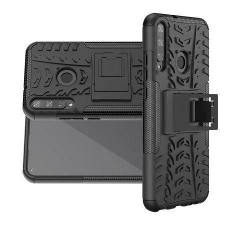 Двухкомпонентный Противоскользящий Гибридный Противоударный Чехол для Huawei P40 lite E с Подставкой Черный