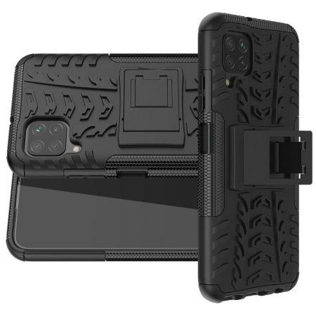 Двухкомпонентный Противоскользящий Гибридный Противоударный Чехол для Huawei P40 Lite с Подставкой Черный