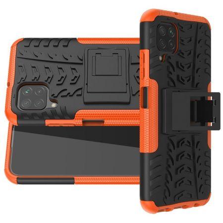 Двухкомпонентный Противоскользящий Гибридный Противоударный Чехол для Huawei P40 Lite с Подставкой Оранжевый