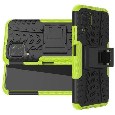 Двухкомпонентный Противоскользящий Гибридный Противоударный Чехол для Huawei P40 Lite с Подставкой Зеленый