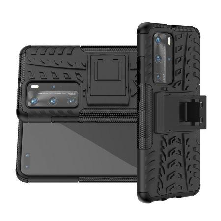 Двухкомпонентный Противоскользящий Гибридный Противоударный Чехол для Huawei P40 Pro с Подставкой Черный