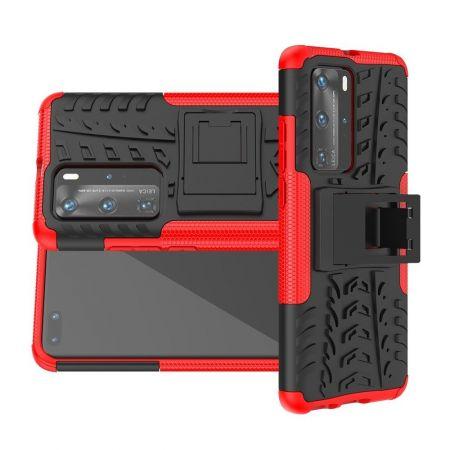 Двухкомпонентный Противоскользящий Гибридный Противоударный Чехол для Huawei P40 Pro с Подставкой Красный / Черный