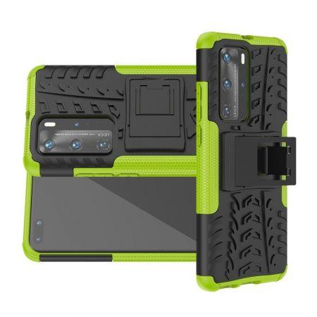 Двухкомпонентный Противоскользящий Гибридный Противоударный Чехол для Huawei P40 Pro с Подставкой Зеленый / Черный