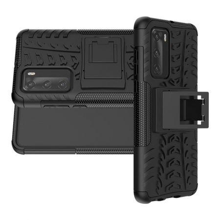 Двухкомпонентный Противоскользящий Гибридный Противоударный Чехол для Huawei P40 с Подставкой Черный