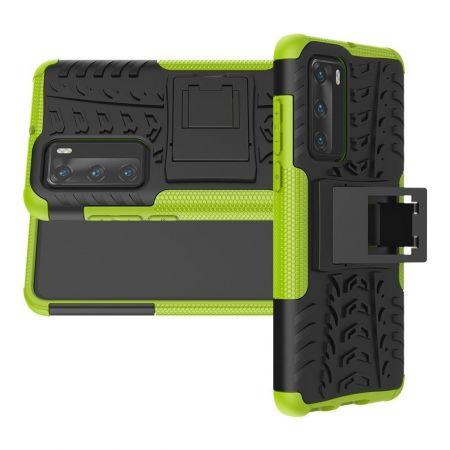 Двухкомпонентный Противоскользящий Гибридный Противоударный Чехол для Huawei P40 с Подставкой Зеленый / Черный