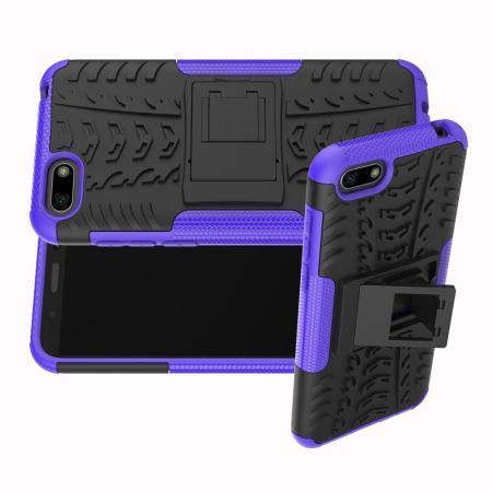 Двухкомпонентный Противоскользящий Гибридный Противоударный Чехол для Huawei Y5 2018 / Y5 Prime 2018 / Honor 7A с Подставкой Фиолетовый