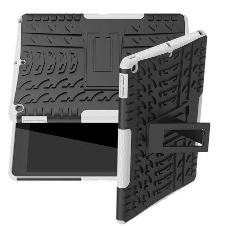 Двухкомпонентный Противоскользящий Гибридный Противоударный Чехол для iPad 10.2 2019 с Подставкой Белый