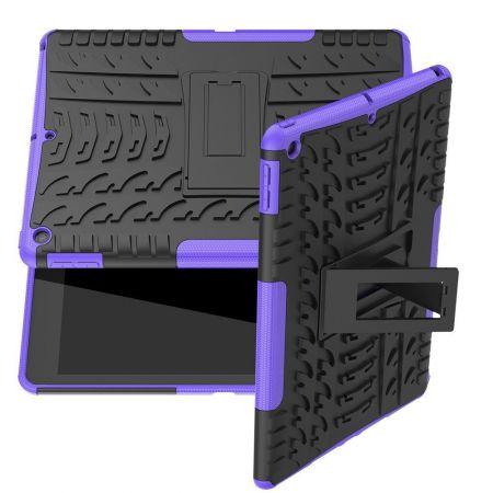 Двухкомпонентный Противоскользящий Гибридный Противоударный Чехол для iPad 10.2 2019 с Подставкой Фиолетовый