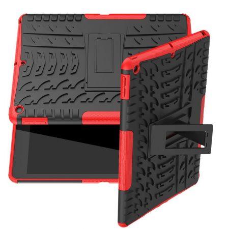 Двухкомпонентный Противоскользящий Гибридный Противоударный Чехол для iPad 10.2 2019 с Подставкой Красный