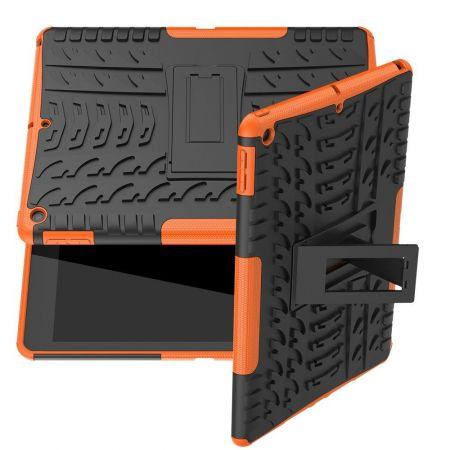 Двухкомпонентный Противоскользящий Гибридный Противоударный Чехол для iPad 10.2 2019 с Подставкой Оранжевый
