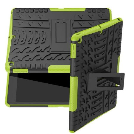 Двухкомпонентный Противоскользящий Гибридный Противоударный Чехол для iPad 10.2 2019 с Подставкой Зеленый