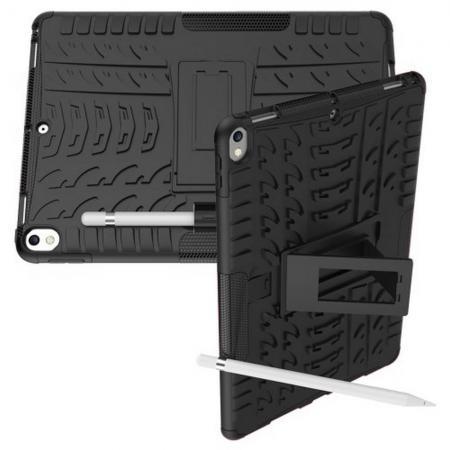 Двухкомпонентный Противоскользящий Гибридный Противоударный Чехол для iPad Air 10.5 2019 с Подставкой Черный