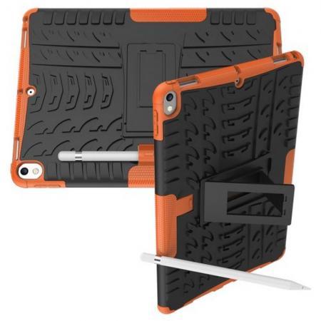 Двухкомпонентный Противоскользящий Гибридный Противоударный Чехол для iPad Air 10.5 2019 с Подставкой Оранжевый
