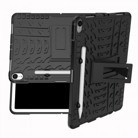 Двухкомпонентный Противоскользящий Гибридный Противоударный Чехол для iPad Pro 11 2018 с Подставкой Черный
