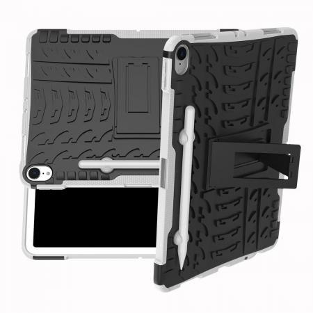 Двухкомпонентный Противоскользящий Гибридный Противоударный Чехол для iPad Pro 11 2018 с Подставкой Белый