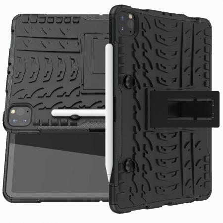 Двухкомпонентный Противоскользящий Гибридный Противоударный Чехол для iPad Pro 11 2020 с Подставкой Черный