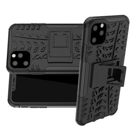Двухкомпонентный Противоскользящий Гибридный Противоударный Чехол для iPhone 11 Pro Max с Подставкой Черный
