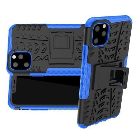 Двухкомпонентный Противоскользящий Гибридный Противоударный Чехол для iPhone 11 Pro Max с Подставкой Синий / Черный