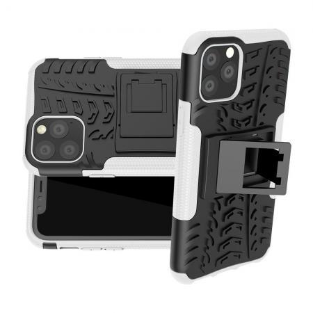 Двухкомпонентный Противоскользящий Гибридный Противоударный Чехол для iPhone 11 Pro с Подставкой Белый